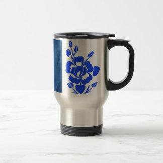 Blue Rose Silhouette Stripes Travel Mug