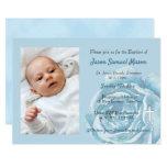 Blue rose sparkle Baptism Invitation