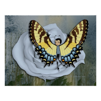 Blue Rose & Swallowtail Butterfairy Print