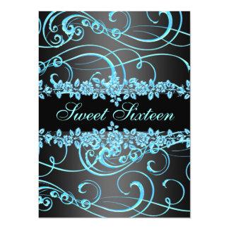 Blue Rose & Swirl Sweet16 Design Birthday Invite