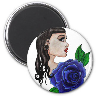 blue rose tattoo 2 inch round magnet