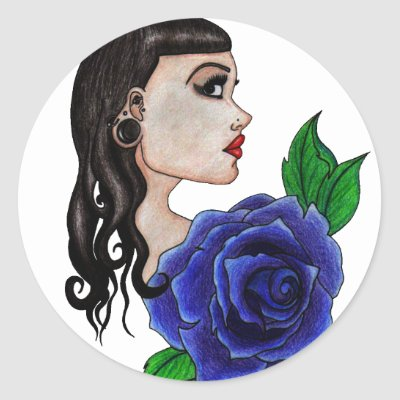 blue rose tattoo round sticker by grostique. blue rose tattoo