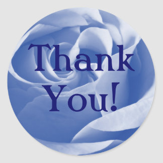 Blue Rose, Thank You! Classic Round Sticker