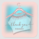 Blue Rose Thank You SHOPPING BOUTIQUE ONLINE Square Sticker