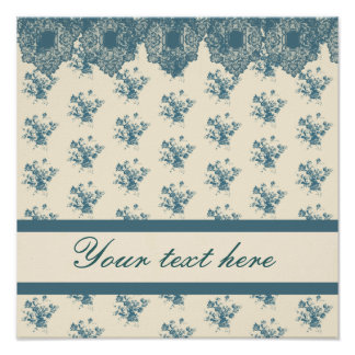 Blue Rose Toile & Lace Poster