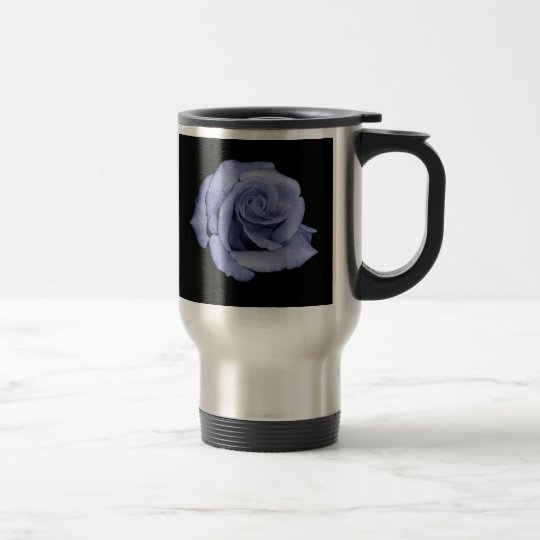 Blue rose travel commuter mug