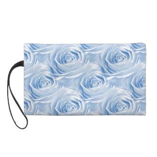 Blue Rose Wallpaper Pattern Wristlet Purse