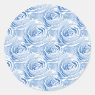 Blue Rose Wallpaper Pattern Classic Round Sticker