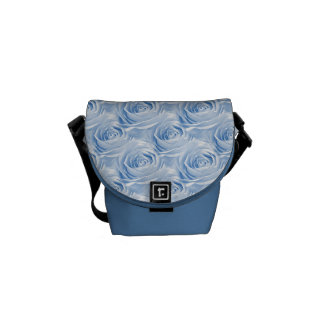 Blue Rose Wallpaper Pattern Messenger Bag