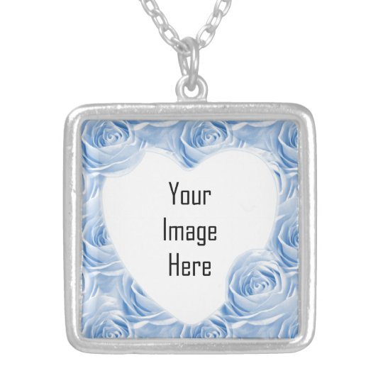 Blue Rose Wallpaper Pattern - Photo Template Silver Plated Necklace