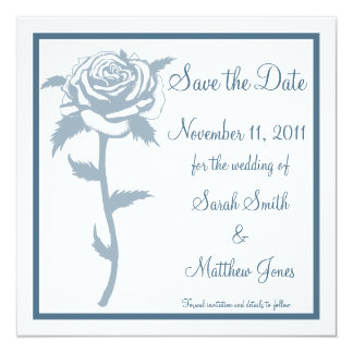 Blue Rose Wedding Save the Date Notice Personalized Announcement
