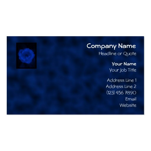 Blue Rose. With Black and Deep Blue. Business Card