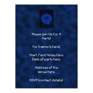 Blue Rose. With Black and Deep Blue. 6.5x8.75 Paper Invitation Card