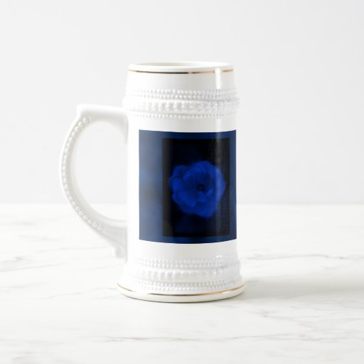 Blue Rose. With Black and Deep Blue. 18 Oz Beer Stein