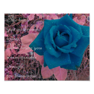 "Blue Rose with Raindrops, ""Inspirational Quote"" Poster"