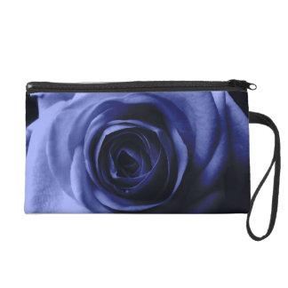Blue rose wristlet purse