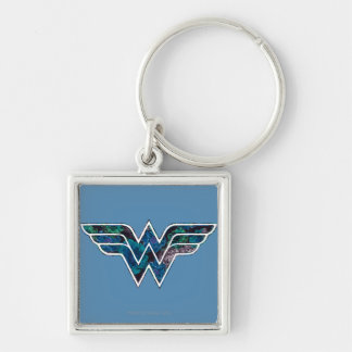 Blue Rose WW Silver-Colored Square Keychain