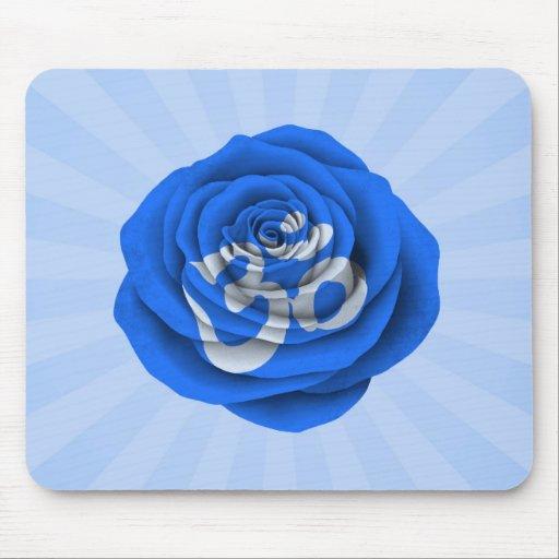 Blue Rose Yoga Om Mouse Pad