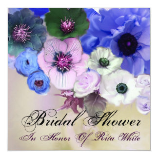 BLUE ROSES AND ANEMONE FLOWERS BRIDAL SHOWER CARD