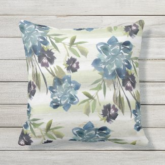 Blue Roses and Cornflowers Watercolor Pillow 16x16