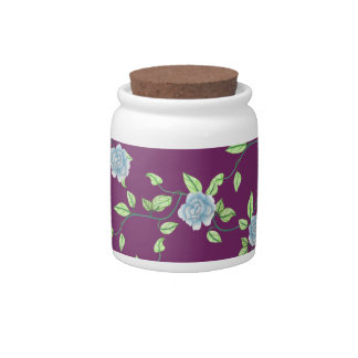 Blue Roses and Green Vines Custom Pattern Candy Jar