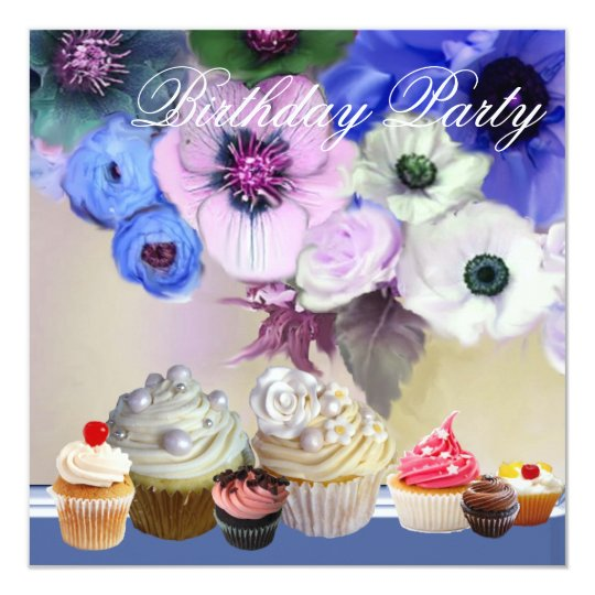 BLUE ROSES ANEMONE FLOWERS AND CUPCAKES Birthday Card