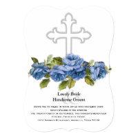 Blue Roses Christian Cross Wedding Invitation