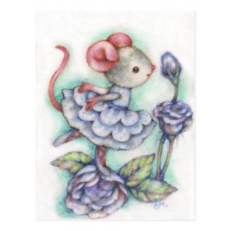 Blue Roses - Cute Mouse Art Postcard