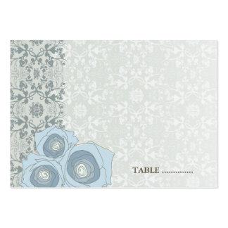 Blue Roses Damask Lace Wedding Place Card