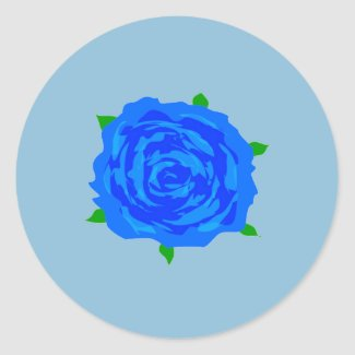 Blue Roses Design on Round Sticker