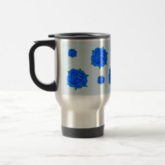 Blue Roses Design on Travel Mug