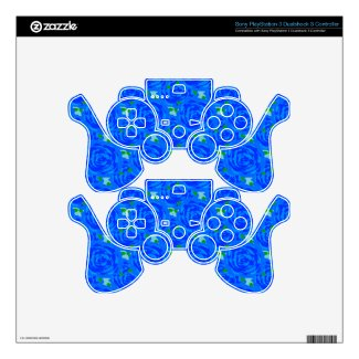 Blue Roses Design PS3 Controller Decal