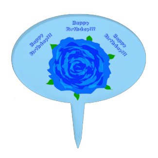 Blue Roses Designed Cake Pick for Birthdays