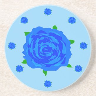 Blue Roses Designed Drink Coaster