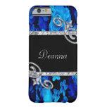 Blue Roses & Diamond Swirls Monogram Barely There iPhone 6 Case