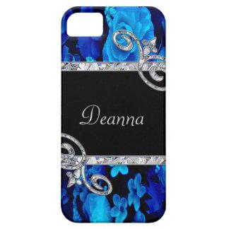 Blue Roses & Diamond Swirls Monogram iPhone 5 Case