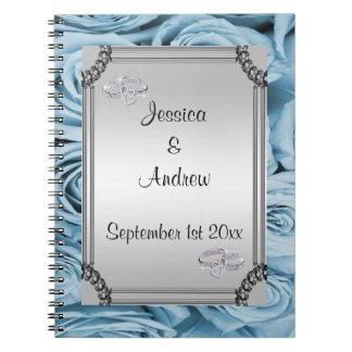 Blue Roses & Diamond Wedding Rings Guest Book
