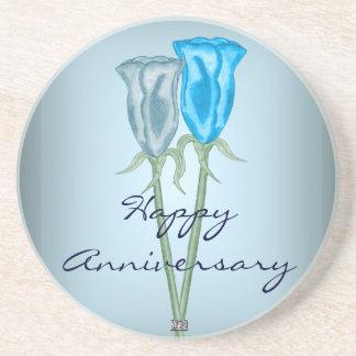 Blue Roses Drink Coaster