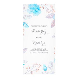 Blue Roses Elegant Watercolor Wedding Programs