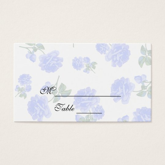 Blue roses English Garden white Floral Placecards Business Card