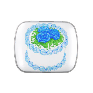 Blue Roses Floral Birthday Cake Candy Tin