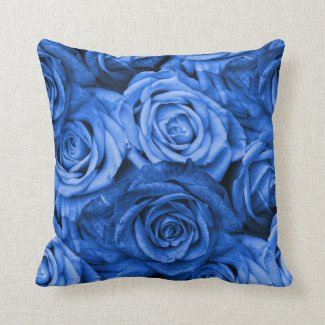 Blue Roses Floral Throw Pillow