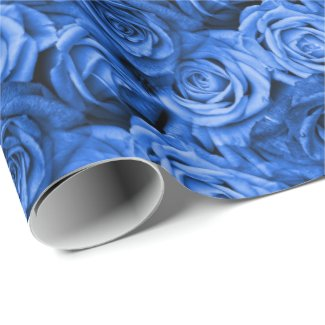 Blue Roses Floral Wrapping Paper