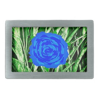 Blue Roses in Grass Fancy Belt Buckle