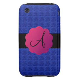 Blue roses monogram iPhone 3 tough cover