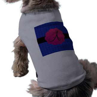 Blue roses monogram dog t shirt