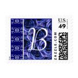 Blue Roses Monogram Letter B Stamp