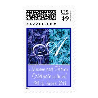 Blue Roses Monogram Wedding Stamp Letter A