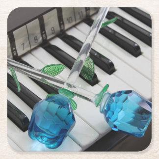 Blue Roses On Organ Square Paper Coaster