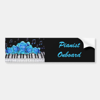 Blue Roses Piano Keyboard and Music Notes Bumper Sticker
